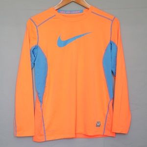 Nike Pro Combat Neon Orange Long Sleeve Shirt XL